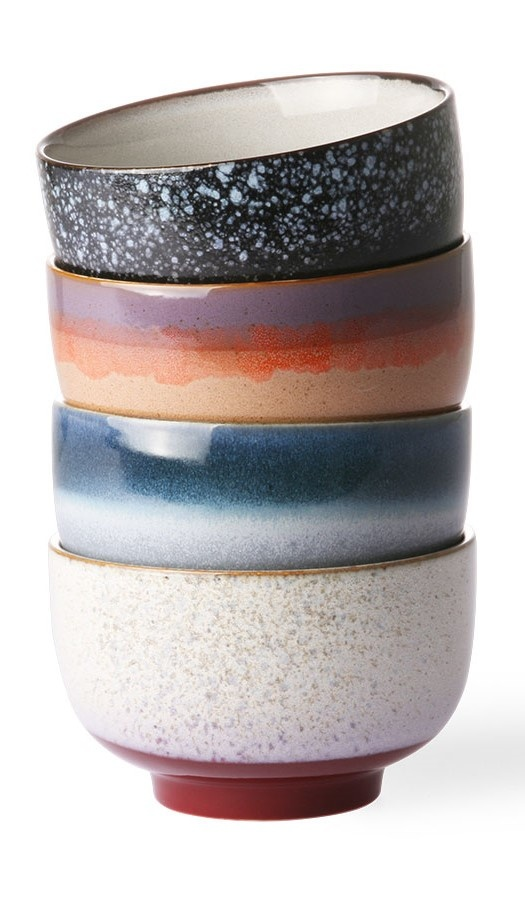 Kommen ceramic 70's noodle bowls set of 4-1