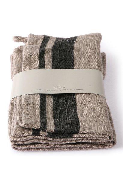 Servetten natural/striped linen napkin set of 2 (45x45)