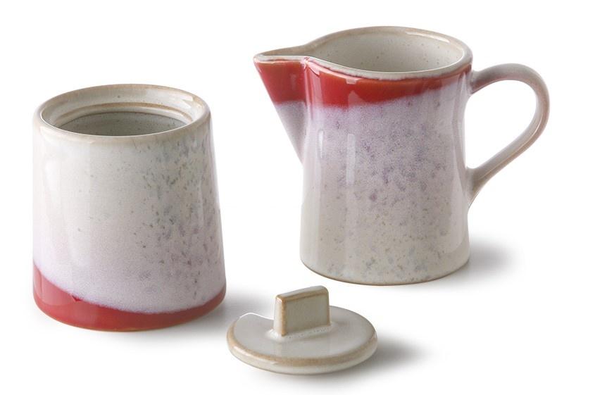 Suiker en melk ceramic 70's milk jug & sugar pot frost-3