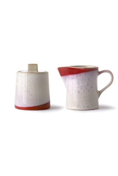 Suiker en melk ceramic 70's milk jug & sugar pot frost