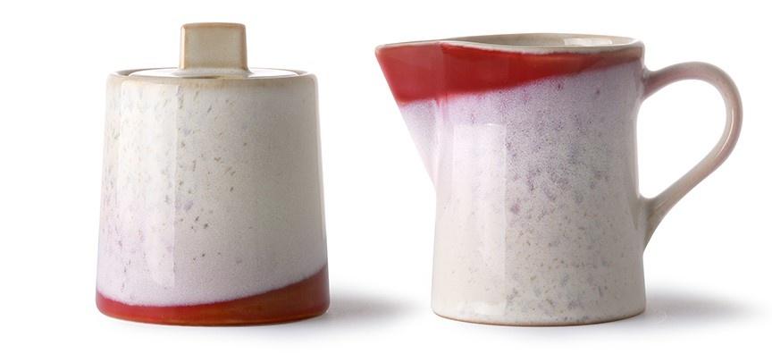 Suiker en melk ceramic 70's milk jug & sugar pot frost-1