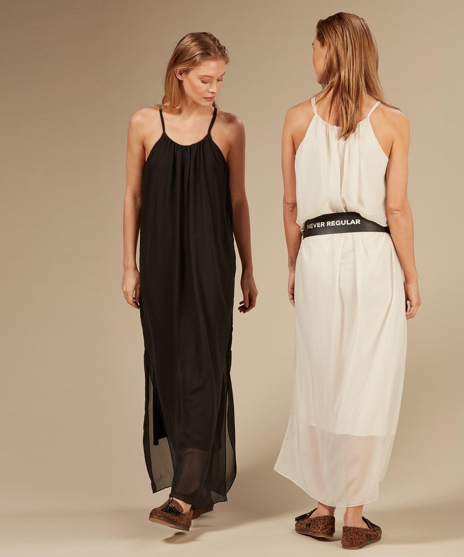 Jurk strappy dress layers light safari-4