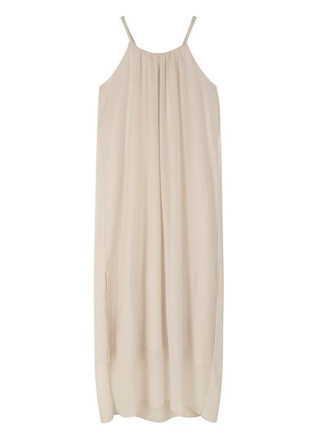 Jurk strappy dress layers light safari