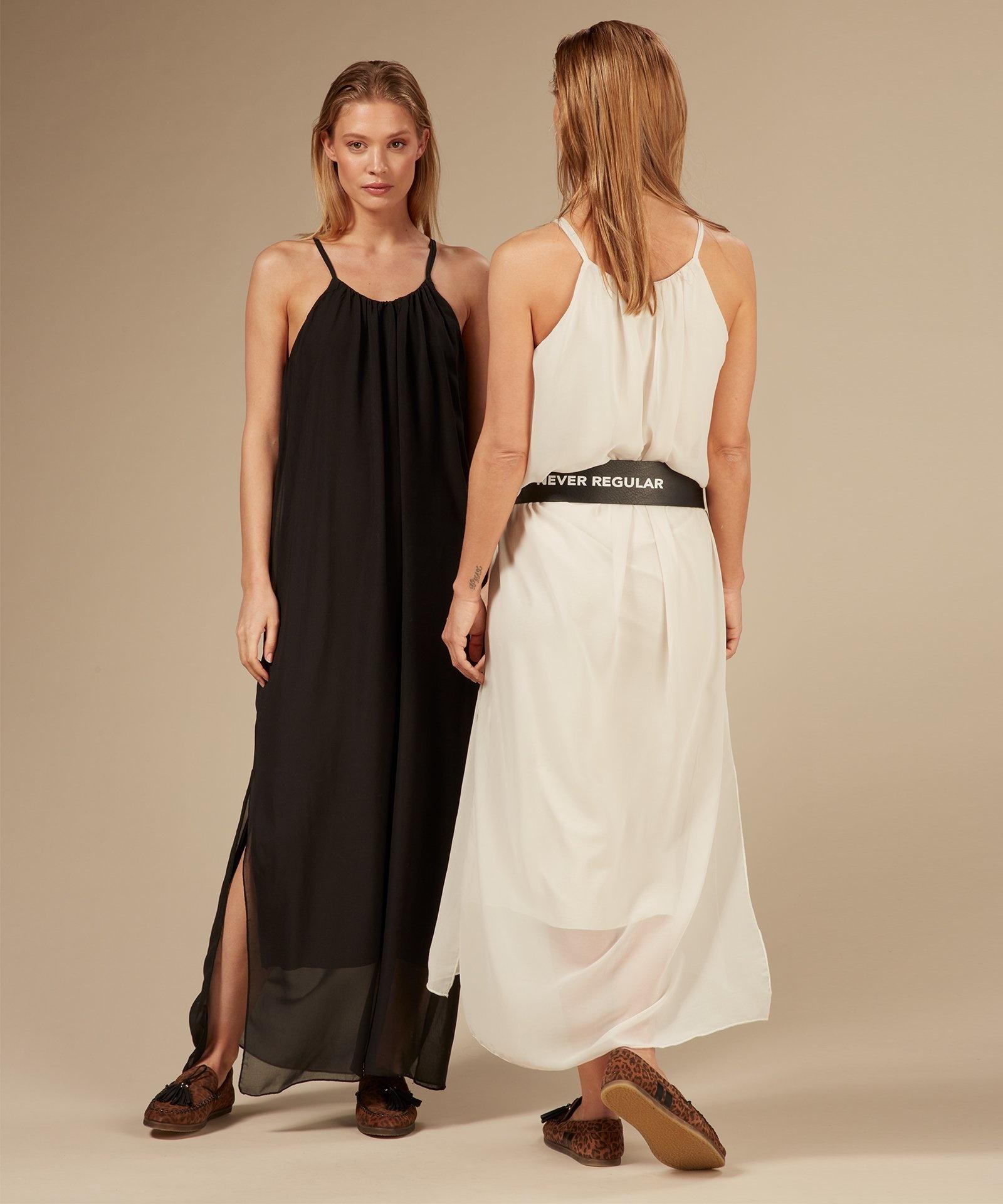 Jurk strappy dress layers light safari-5