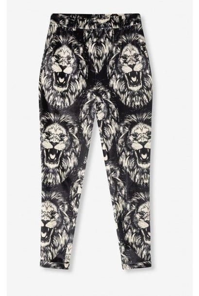Broek woven lion vetvet pants black