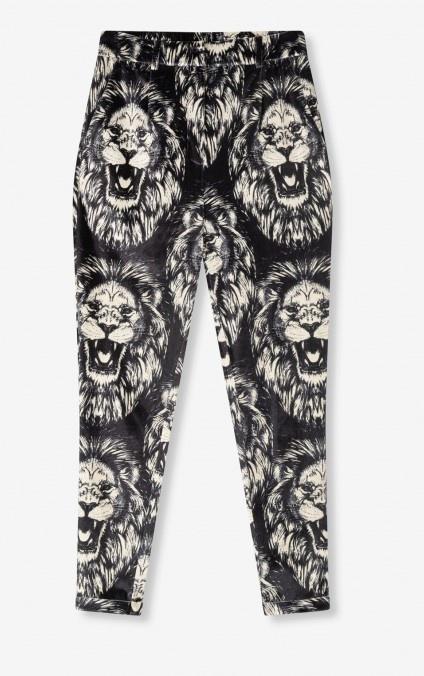 Broek woven lion vetvet pants black-1