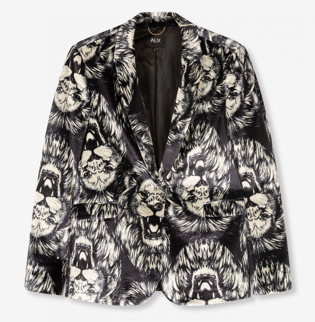 Blazer woven lion velvet black-1