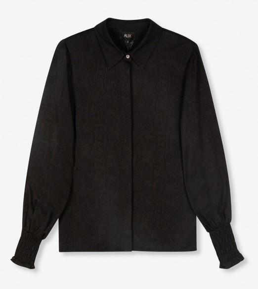 Blouse woven animal black-1