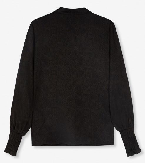 Blouse woven animal black-2