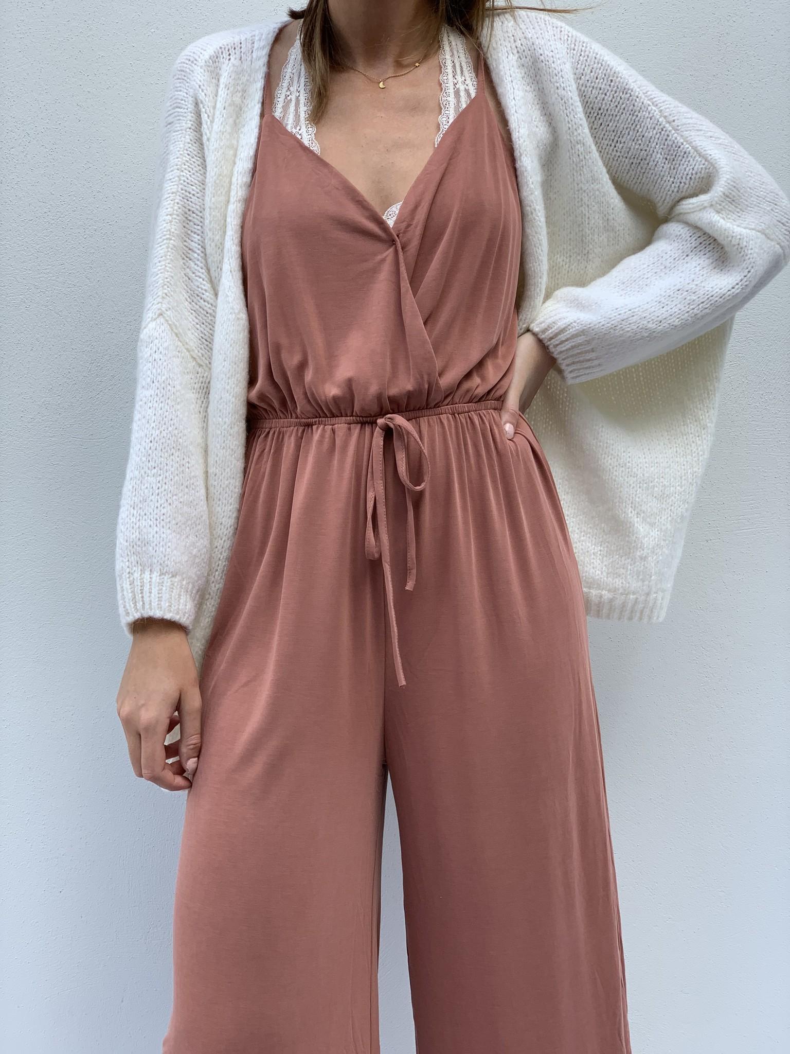 Jumpsuit tricot oud roze-1