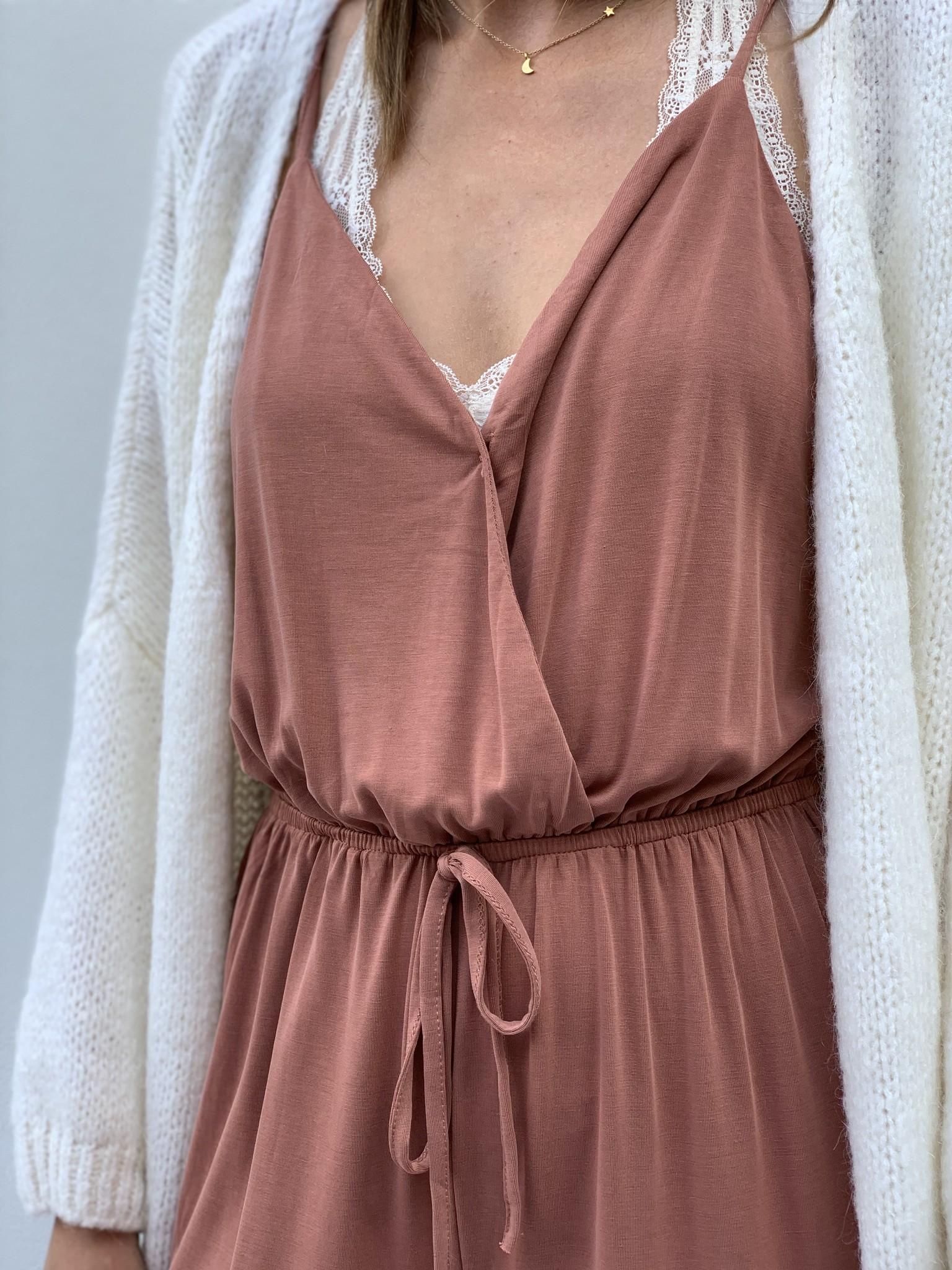 Jumpsuit tricot oud roze-2