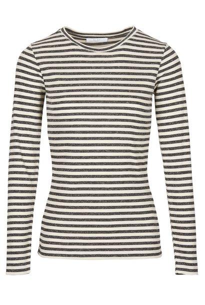 T-shirt lange mouw basic is melange stripe sand