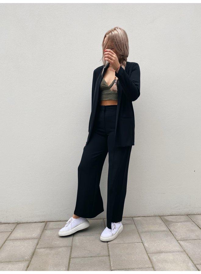 Broek Pantalone nero elastaan wijde pijp