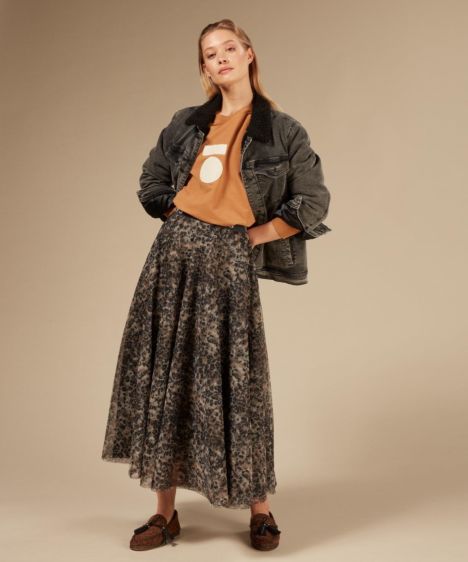 Rok tulle skirt leopard Winter White-4