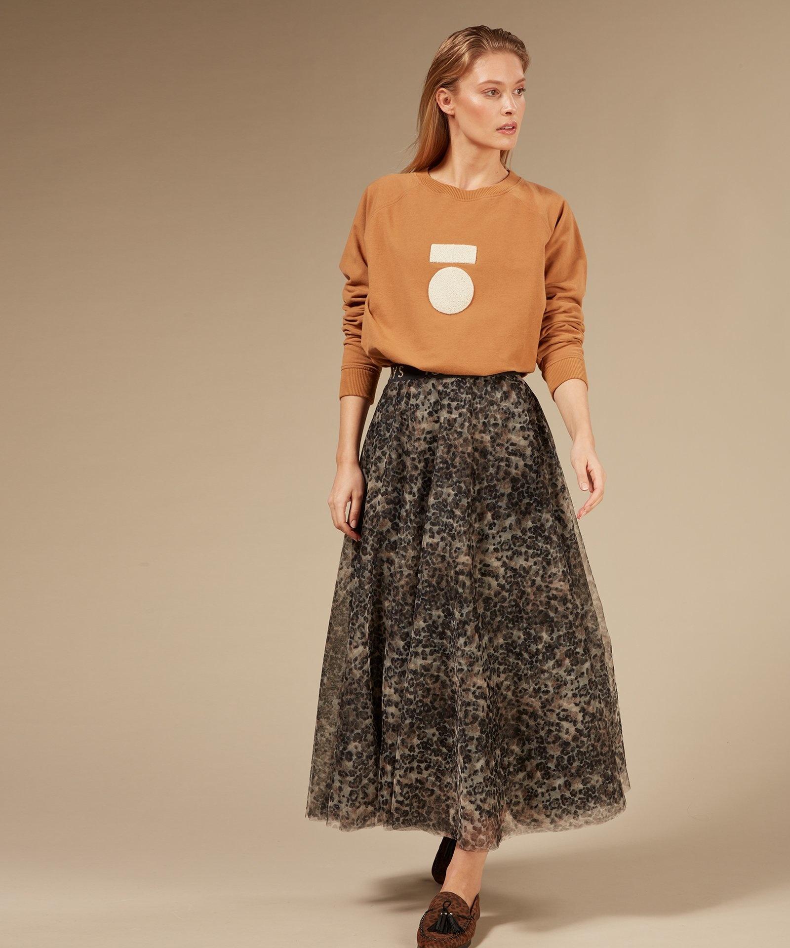 Rok tulle skirt leopard Winter White-5