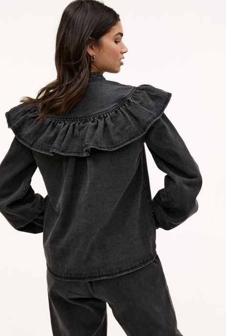 Blouse ruffle the day grey-2