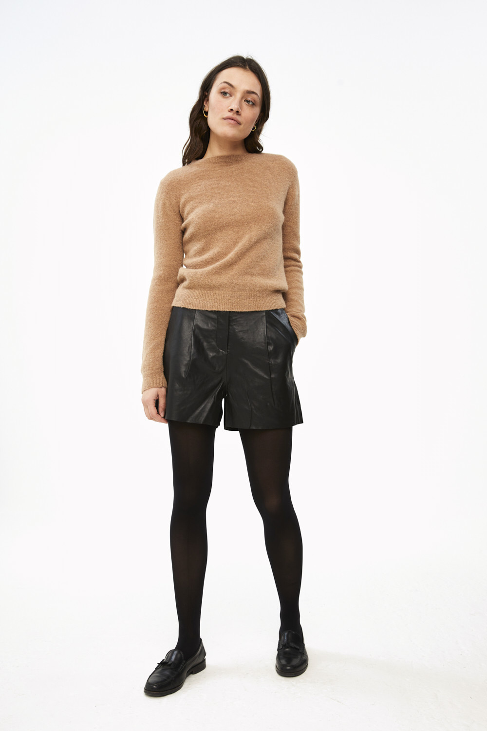 Short Broek lexi leather black-2