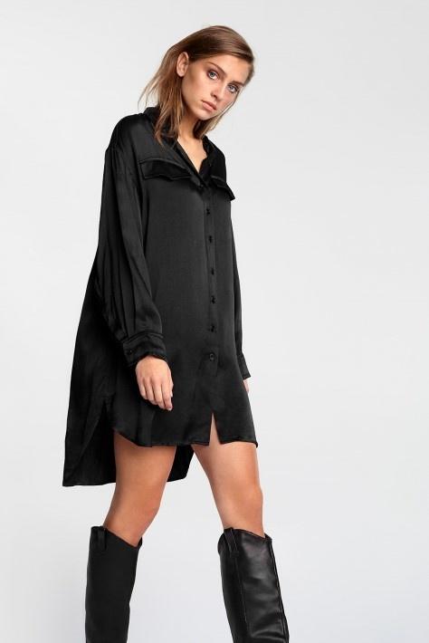 Blouse woven satin blouse black-3