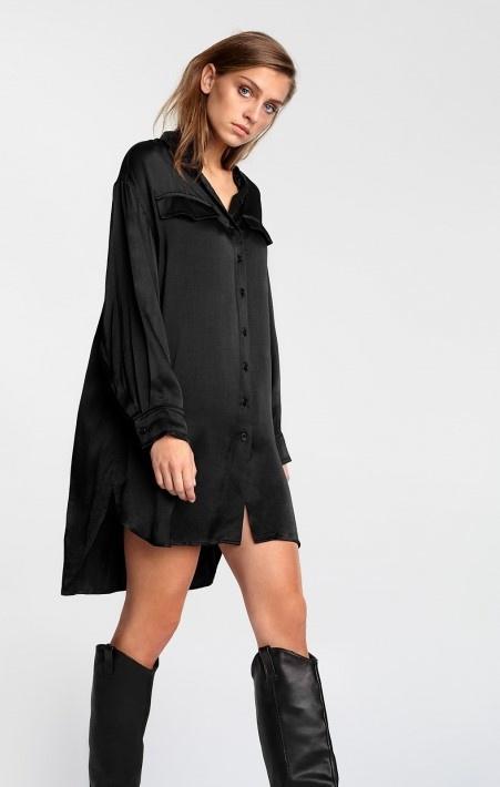 Blouse woven satin blouse black-5