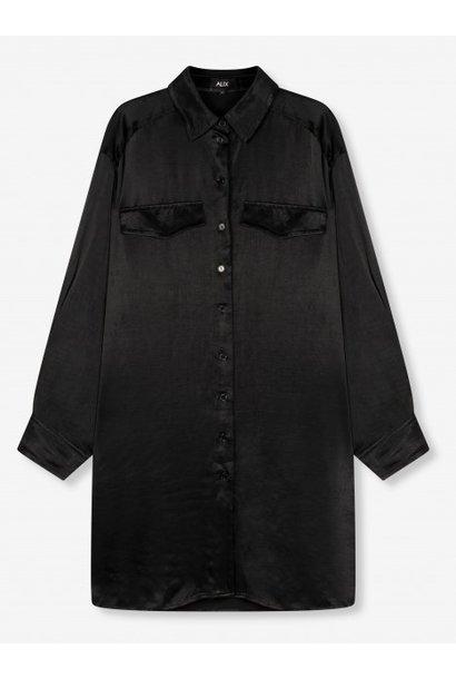 Blouse woven satin blouse black