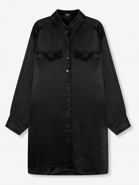 Blouse woven satin blouse black-1