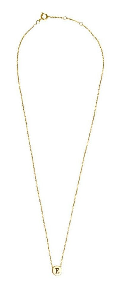 Ketting Character Necklace Letter E Gold-3