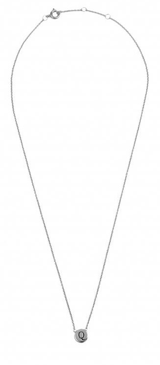 Ketting Character Necklace Letter Q Silver-3