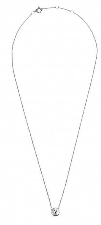 Ketting Character Necklace Letter V Silver-3