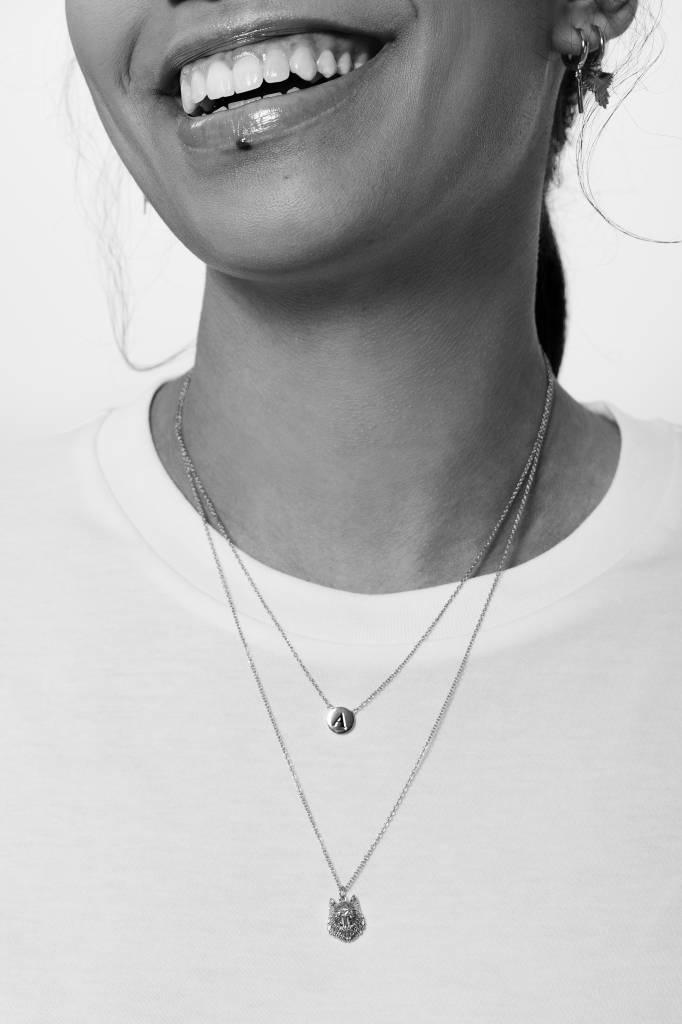 Ketting Character Necklace Letter V Silver-2