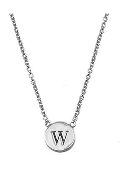 Ketting Character Necklace Letter W Silver