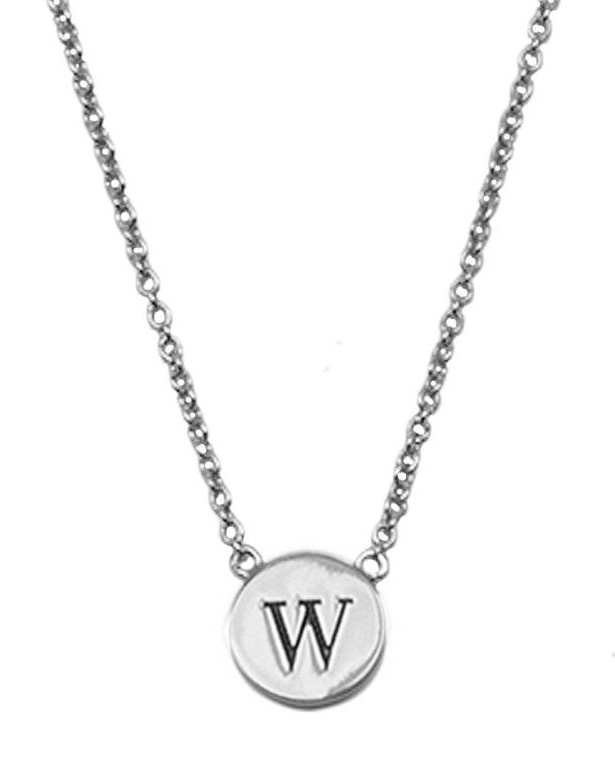 Ketting Character Necklace Letter W Silver-1