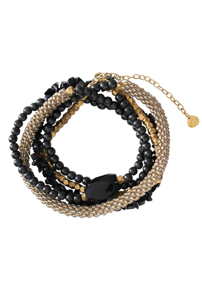 Armband Superwrap Black Onyx Gold Bracelet