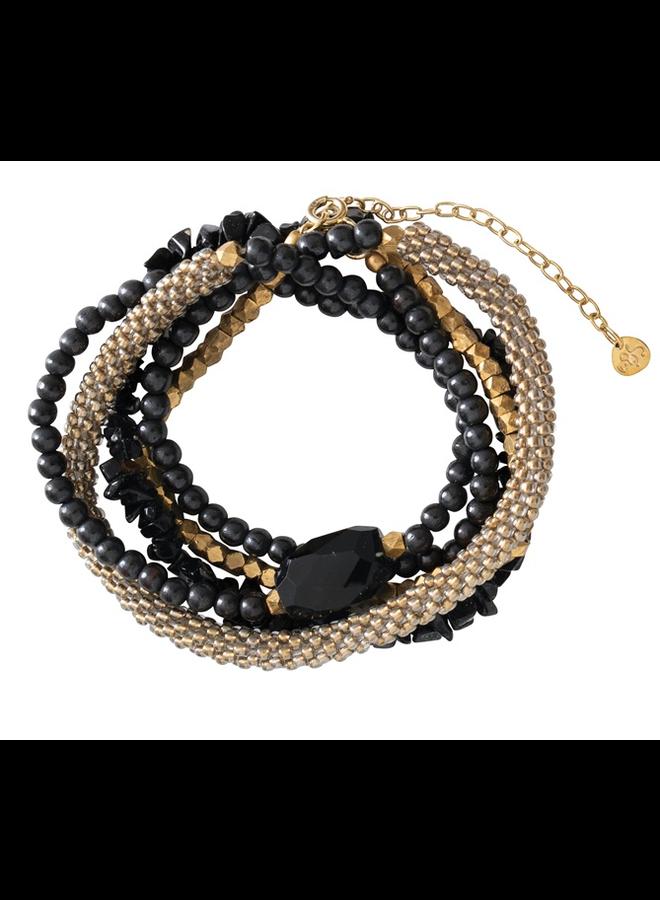 Armband Superwrap Black Onyx Gold Bracelet