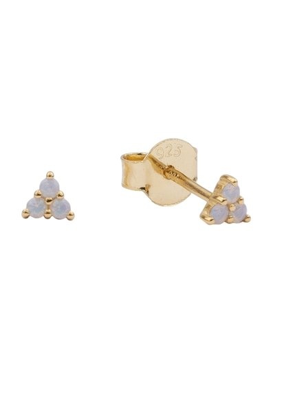 Oorring moonlight triangle dots white grey gold PER PAAR