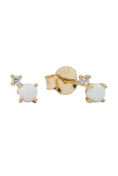 Oorring moonlight two dots opal white clear gold PER PAAR