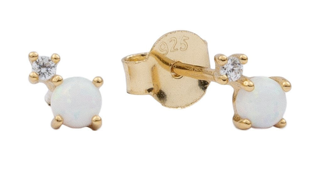 Oorring moonlight two dots opal white clear gold PER PAAR-1