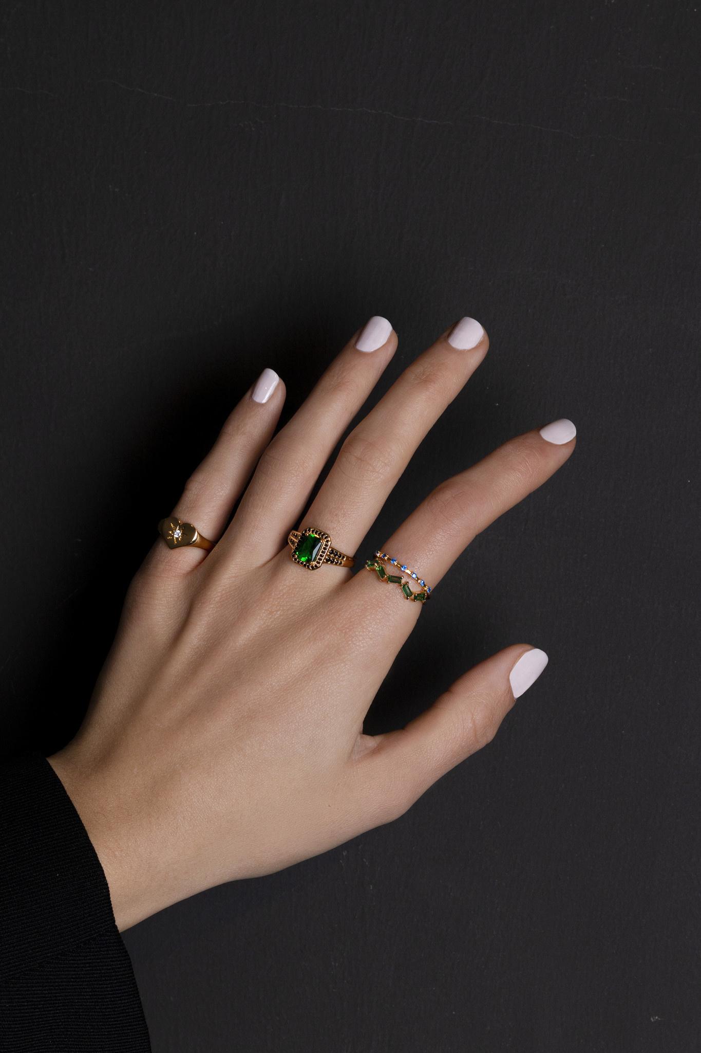 Ring chérie rectangle green black-2