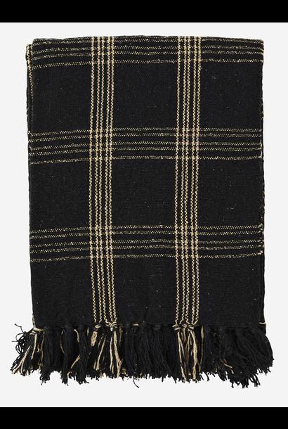 Woondeken met franjes 125x150cm black, beige