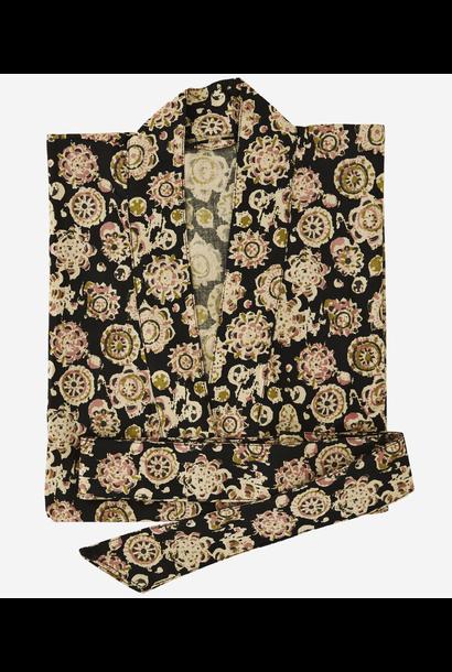 Kimono Printed cotton black, sand, olive, dusty rose ONE SIZ E