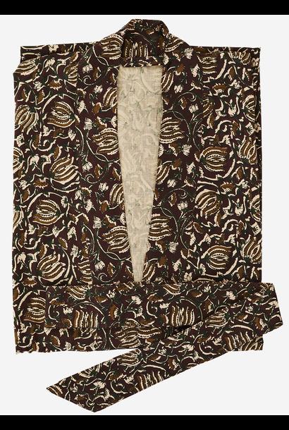 Kimono met riem Printed cotton one size ruby wine, green, sugar almond, nude, black