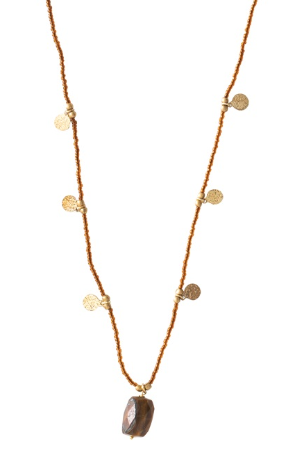 Ketting Charming Tiger Eye Gold Necklace-1