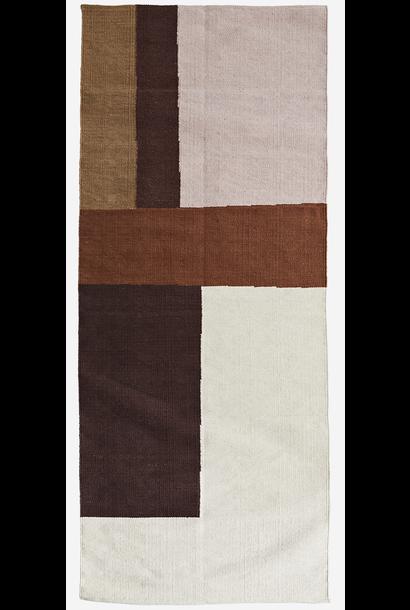 Vloerkleed hand woven cotten runner 70x200cm off white, cognac, rose, sugar almond, light khaki