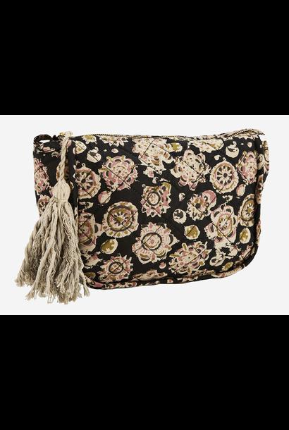 Toilettas cotton tassels 21x8x17cm Black, sand, olive, dusty rose