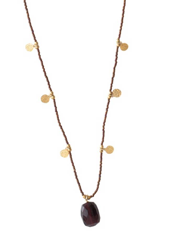 Ketting Charming Garnet Gold Necklace