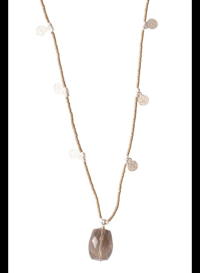 Ketting Charming Smokey Quartz Silver Necklace