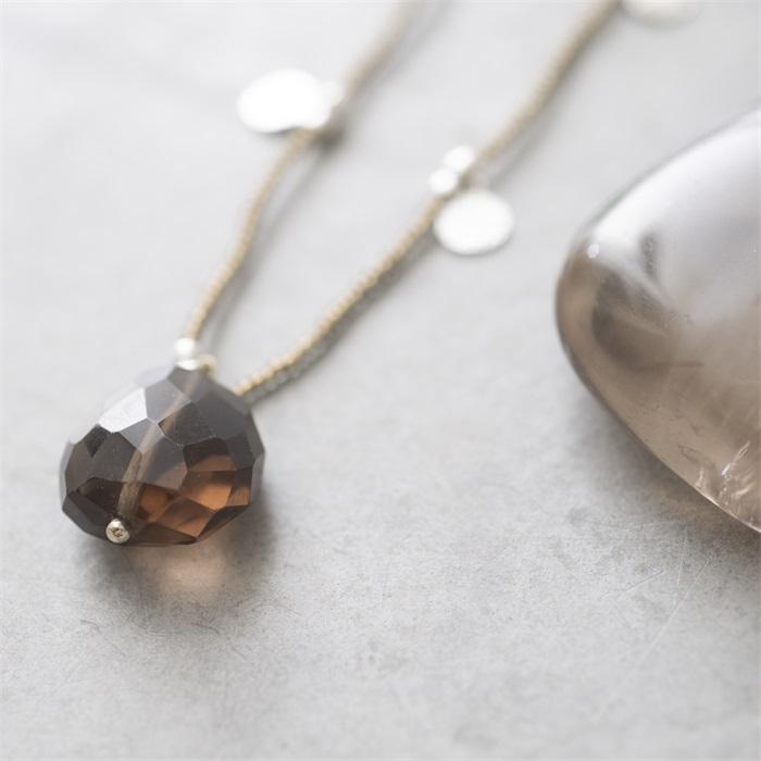 Ketting Charming Smokey Quartz Silver Necklace-2