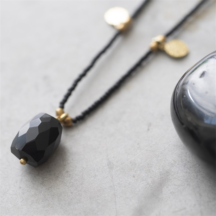 Ketting Charming Black Onyx Gold Necklace-2
