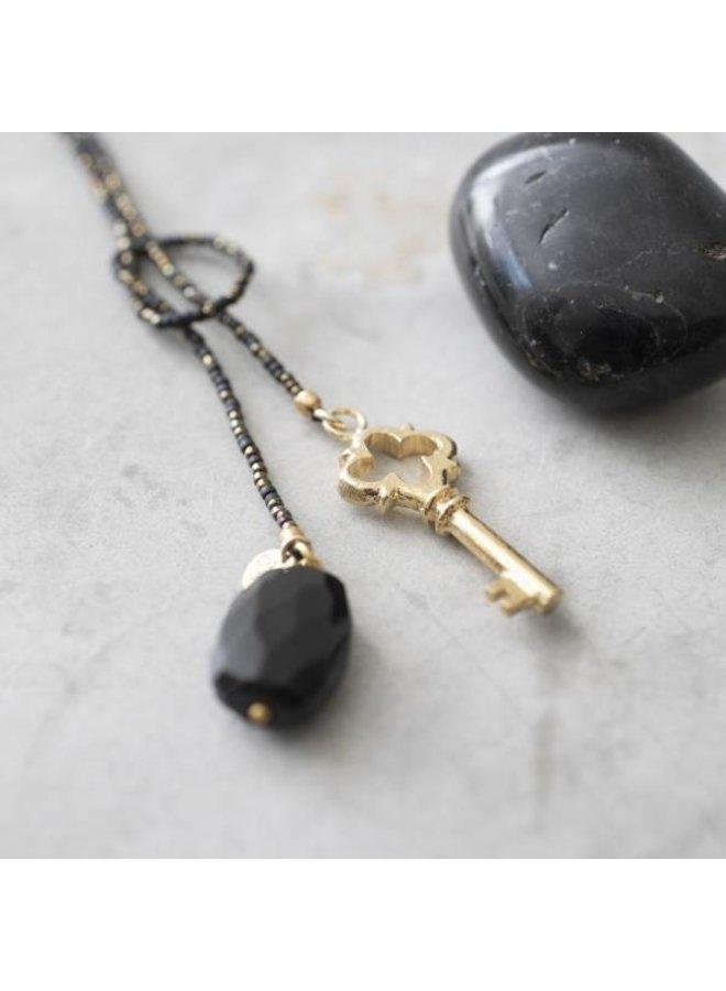 Ketting Nova Black Onyx Gold Necklace