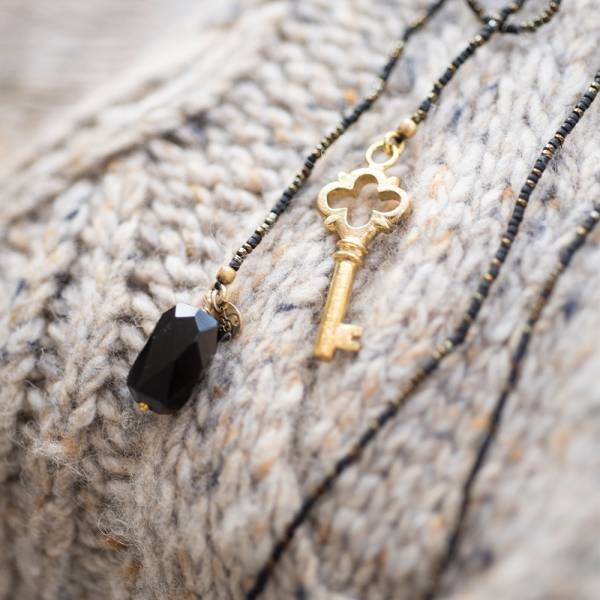 Ketting Nova Black Onyx Gold Necklace-4