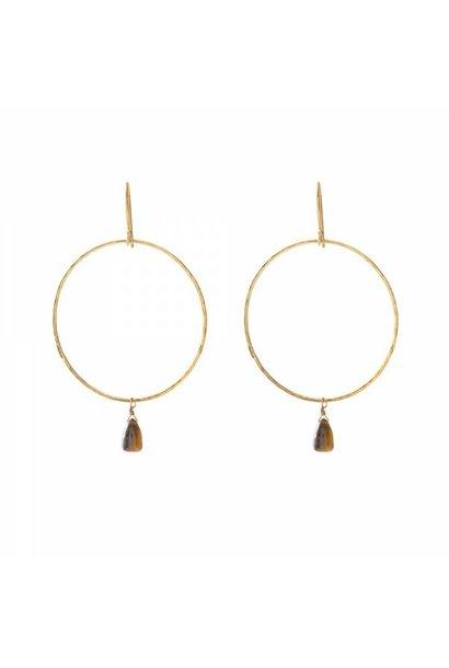 Oorbellen per paar Embrace Tiger Eye Gold Earrings
